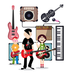 music band in recording studio with instruments vector image