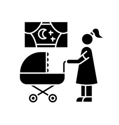 Night time nanny black glyph icon mother vector
