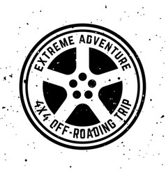 Off-road 4x4 extreme club round monochrome vector