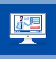 online courses lead male tutor teacher on video vector image
