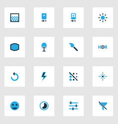 Photo icons colored set with circle hdr flare vector