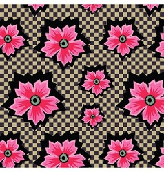 Pink cute flowers pattern on checkered background vector