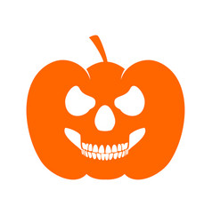 Pumpkin skull profile evil jack o lantern vector