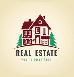 real estate logo cottage vector image