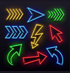 Realistic neon arrows night arrow sign lamp vector