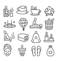sauna line icons set on white background vector image