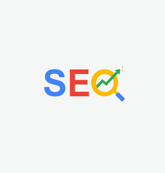 Seo search engine optimization minimal flat logo vector
