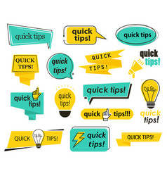 set isolated tips icons quick advice and info vector image