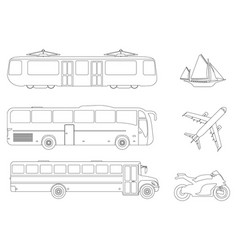 set of flat urban transport icon outline vector image