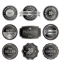 set of premium silver labels vector image