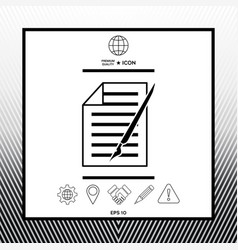 Sheet of paper and pen icon vector