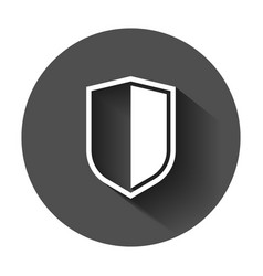 Shield protect icon with long shadow business vector