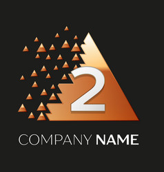 Silver number two logo in pixel triangle shape vector