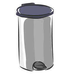 Silver stainless steel trash can color on white vector