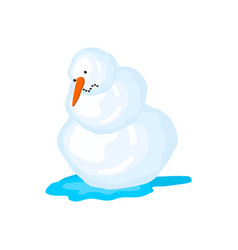 snowman melts spring comes snow and water vector image