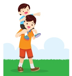 Son Sit On Dad Shoulder vector image