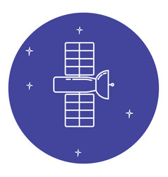 Space satellite icon in thin line style vector
