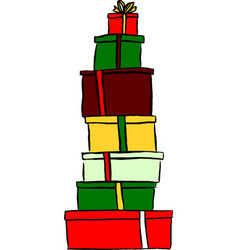 Stack of Christmas gifts vector image