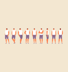 Standing man in different positions vector