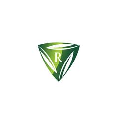 swoosh leaf dynamic rotation center letter r vector image