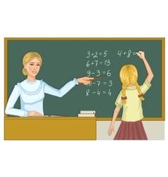 Teacher and schoolgirl at blackboard eps10 vector