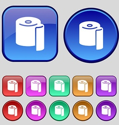 Toilet paper icon sign A set of twelve vintage vector