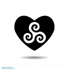 Tryskel circle floats in heart heart black icon vector
