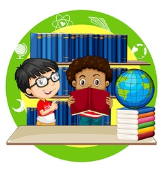 Two boys reading books at school vector image