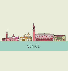 venice cityscape with famous landmarks vector image