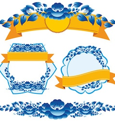 Vintage orange ribbon and blue flowers design vector image