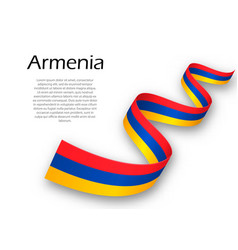 Waving ribbon or banner with flag of armenia vector