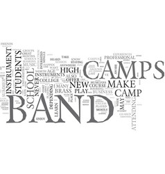 what to know about band camps text word cloud vector image