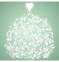 White wedding dress vintage silhouette vector