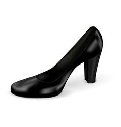 Women black shoe high heel vector