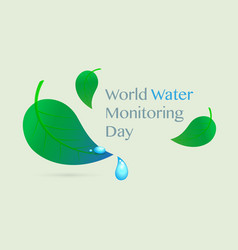 World water monitoring day poster postcard banner vector