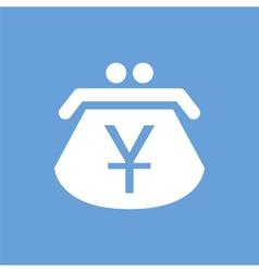 Yen purse white icon vector