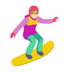 Young girl is riding a snowboard in stylish bright vector
