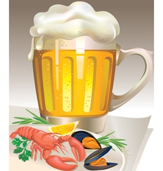 Glass of beer with seafood vector image vector image