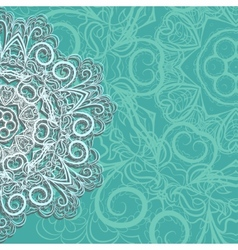 Half of pink snowflake on cyan background vector image vector image