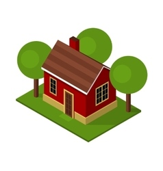 Isolated Isometric House Buildings with Garden and vector image vector image