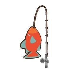 Orange fish marine ecosystem life fishing rod vector