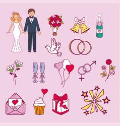 bride and groom wedding couple marriage nuptial vector image