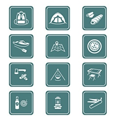 Camping set - TEAL series vector image vector image