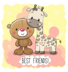 cute cartoon bear and giraffe vector image vector image