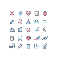 Fitness and sport line icons set vector image