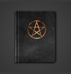 Leather Book With Pentagram vector image