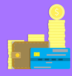 money concept credit card wallet and coin vector image vector image