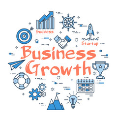 blue round business growth concept vector image vector image