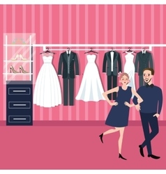 couple man woman select wedding dress in bridal vector image
