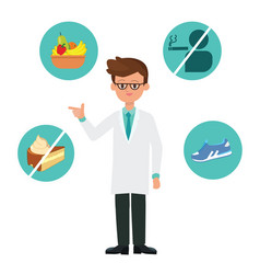 doctor cartoon character with healthy icons vector image vector image